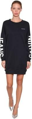Calvin Klein Jeans Logo Printed Sweatshirt Mini Dress
