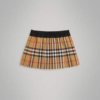 Burberry Pleated Vintage Check Cotton Skirt