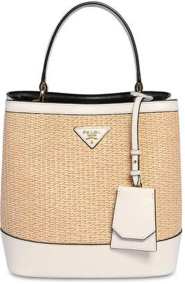 Prada Medium Cotton & Leather Bucket Bag