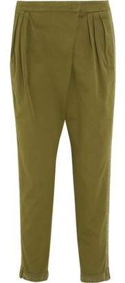 Givenchy Tapered Pants In Silk-Trimmed Army-Green Cotton-Twill