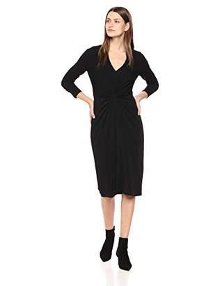 London Times Women's Long Sleeve V Neck Twist Front Crepe MIDI Dress