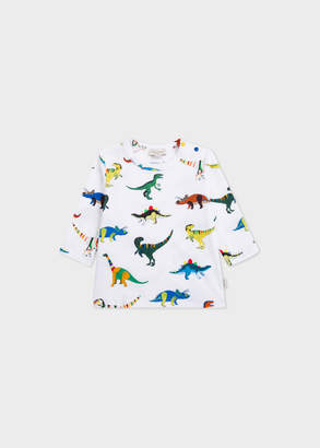 Paul Smith Baby Boys' White Long-Sleeve 'Dinosaurs' Print T-Shirt