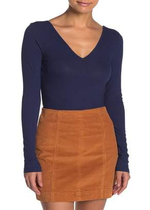 Love, Fire Double V-Neck Ribbed Long Sleeve Top