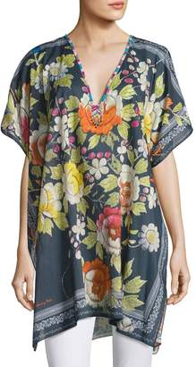 Johnny Was Rosalia Beaded-Neck Poncho Top, Multi Pattern $175 thestylecure.com
