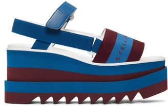 Stella McCartney Navy and Burgundy Striped Platform Sandals