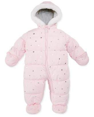 Carter's Infant Girls Foil Stars Snowsuit Baby Pram Snow Suit 6-9m