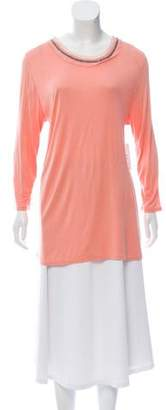 Halston Embellished Long Sleeve Top
