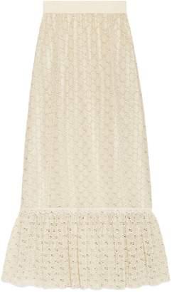 Gucci GG macramé long skirt