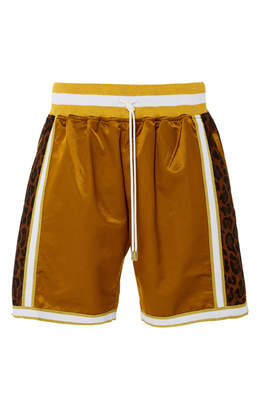 JUST DON Leopard-Print Cotton-Blend Satin Basketball Shorts