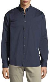 Stretch-Woven Button-Down Shirt Navy