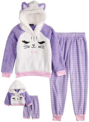 Cuddl Duds Girls 4-12 Kitty Cat Sherpa Hooded Top & Striped Bottoms Pajama Set & Matching Doll Pajamas