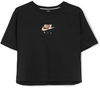 Nike Cropped Printed Cotton-jersey T-shirt - Black