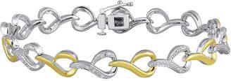 FINE JEWELRY 1/10 CT. T.W. Diamond 14K Yellow Gold Over Sterling Silver Link Bracelet