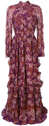 Giambattista Valli floral ruffle detail maxi dress