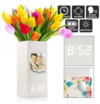 Oct17 Wooden Alarm Clock Vase, Modern Wood Digital Alarm Clock, Voice Control Electric Smart LED Alarm Clock with Flower Plant Vase for Bedroom Office Home - White with White Light
