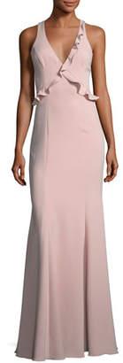Jay Godfrey Joseph Asymmetric Sleeveless Ruffle Dress