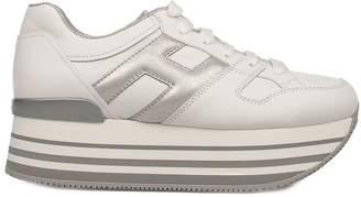 Hogan White/silver Maxi H222 Wedge Sneakers