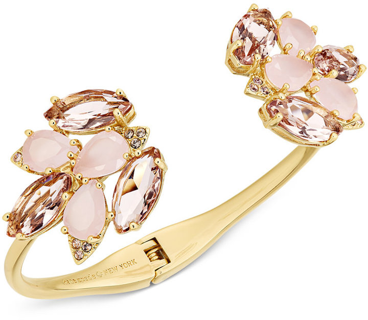 Kate Spade kate spade new york Gold-Tone Pink Stone and Crystal Cluster Hinged Cuff Bracelet