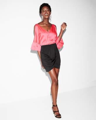 Express Satin Wrap Mini Skirt
