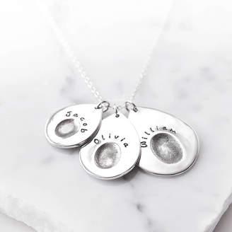 13762da5c Button and Bean Silver Personalised Multi Teardrop Fingerprint Pendant