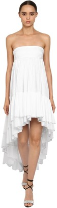 Alexandre Vauthier Crystal Ruffled Cotton Asymmetric Dress