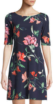 Eliza J Half-Sleeve Floral Jersey Shift Dress