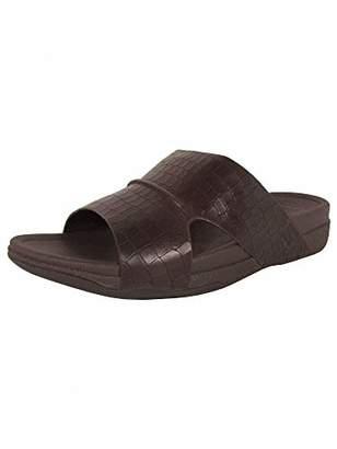 FitFlop Men's Bando Leather Croc Slide Sandal