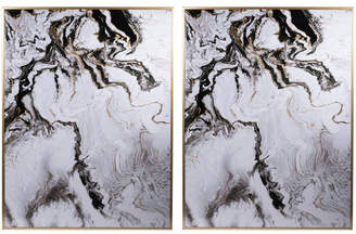 A&B Home Set Of 2 White Marbled Panels