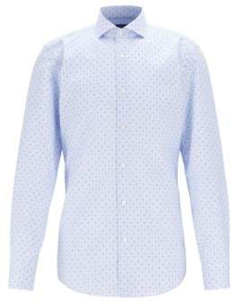 Slim-fit shirt in micro-printed cotton with Fresh Active finish