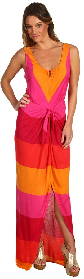 BCBGMAXAZRIA Marlie Sleeveless Maxi Dress (Red Berry Multi) - Apparel