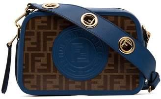 Fendi brown and blue Camera Case logo print leather cross body bag