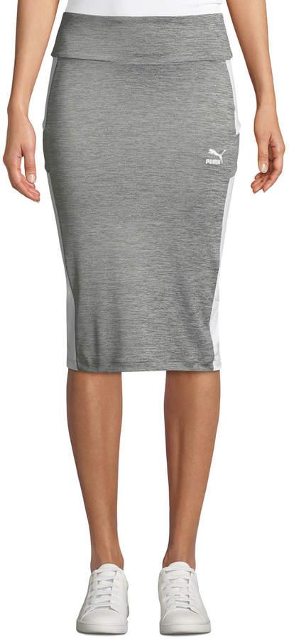 Puma Jersey Logo-Print Pencil Skirt