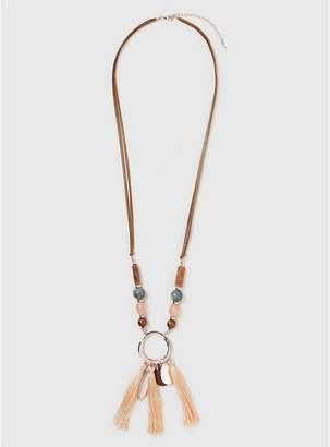 Evans Tan Boho Cluster Necklace