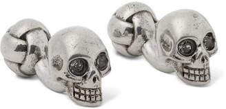 Alexander McQueen Skull Silver-Tone Swarovski Crystal Cufflinks