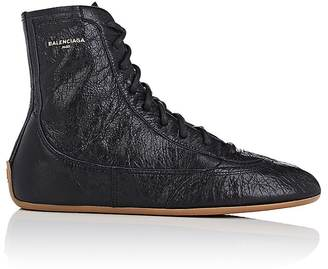 Balenciaga Women's Women's Leather Boxing Sneakers $635 thestylecure.com
