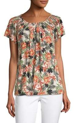 Style&Co. Style & Co. Floral Pleated-Front Top