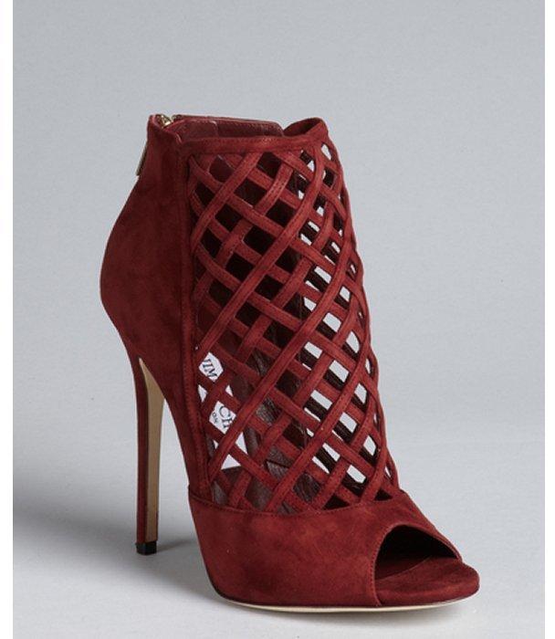 Jimmy Choo burgundy suede latticework vamp back zip 'Dane Sue' peep toe booties