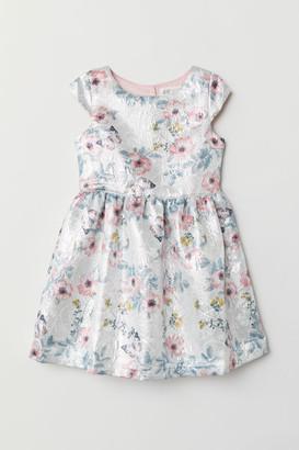 H&M Jacquard-weave Dress - Silver