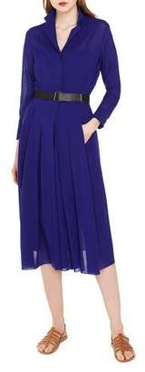 Akris Bracelet-Sleeve Pleated-Skirt Wool Crepe Georgette Shirtdress with Belt