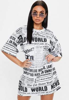 Missguided White Newspaper Oversized Tshirt Dress