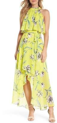 Eliza J Halter Neck Chiffon Maxi Dress