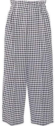 Sonia Rykiel Cropped Gingham Wool Wide-Leg Pants