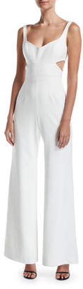 Jay Godfrey JAY X JAYGODFREY Daisy Sleeveless V-Neck Cutout Wide-Leg Jumpsuit