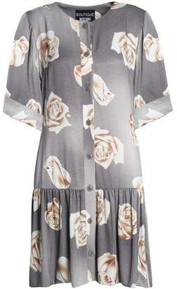 Moschino Floral-Print Fluted Sateen Mini Dress