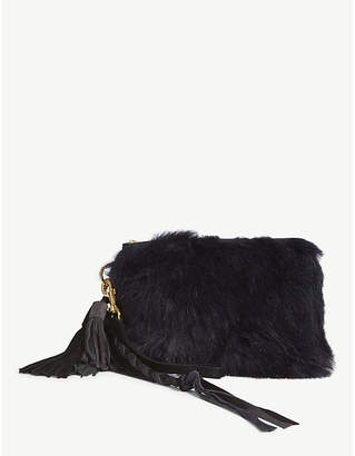 Sacai Navy Blue Faux Fur Clutch Bag