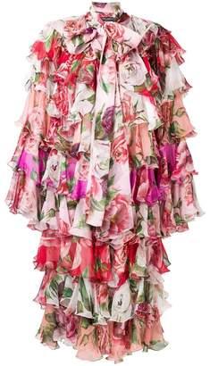 Dolce & Gabbana Peony and Rose ruffled chiffon coat
