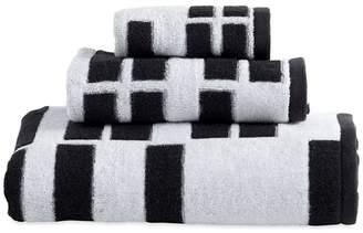 DKNY Black Cotton 'High Rise' Jacquard Towels