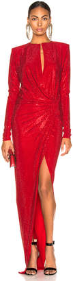 Alexandre Vauthier Embellished Jersey Wrap Gown in Scarlet | FWRD