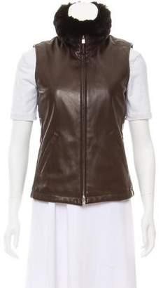 Loro Piana Chinchilla Fur-Trimmed Leather Vest