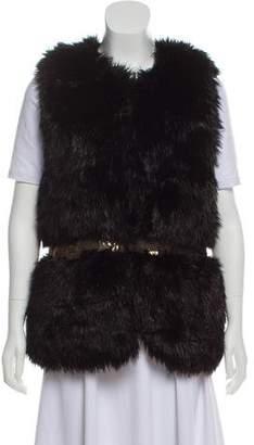 Gryphon Embellished Faux Fur Vest